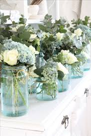 White roses and blue hydrangeas - saved the day for Lang in