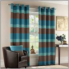 teal cream and brown curtains
