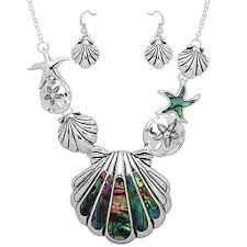 women jewelry sets di boutique gorgeous sea life necklace and earrings set abalone s accent sand dollar starfish seas 11street msia gold