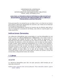 Apa Para Ejemplos Del Formato Apa Para Bibliografia Ejemplo Del