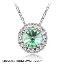round pendant necklace with crystals from swarovski