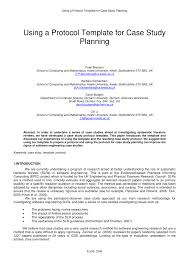 Pdf Using A Protocol Template For Case Study Planning