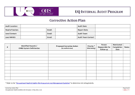 Corrective Action Plan Template Excel Templates 12697 Resume