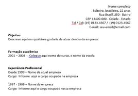 Exemplos De Curriculos Exemplos E Modelos De Curriculo E Curriculum Vitae