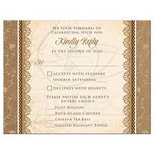 Rsvp Card Sizes Wedding Meal Choice Rsvp Card Rustic Burlap Lace