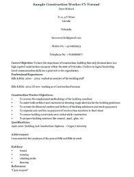 Resume Template Construction Worker Elegant Resume Sample For