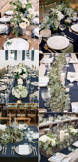 navy blue and greenery wedding ideas