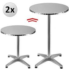 2x round aluminium bistro table high bar patio outdoor party wedding pub cafe