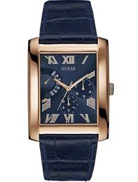 guess w0609g2 rose gold rectangular blue leather strap mens watch new guess men s blue dial steel blue leather strap rose gold watch w0609g2