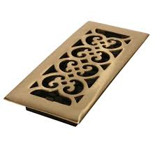 Decorative Grates Registers 4 In X 10 In Bright Solid Brass Floor Register Hs410 The Home