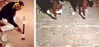 two examples of navajo sand painting preparations in advance of the healing ceremony