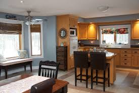 Kitchen wall colors with oak cabinets Terracotta Floor Oak Kitchen With Bluegrey Wall Color Kitchen Reno Is Not In The Cards Right Now So Had To Pick Great Color To Go With Oak Cabinets Bluegrey Works Pinterest Oak Kitchen With Bluegrey Wall Color Kitchen Reno Is Not In The