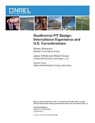 PDF) Geothermal FIT Design: International Experience and U.S. Considerations
