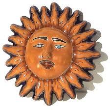 small talavera ceramic sun face contemporary outdoor wall art by fine crafts imports