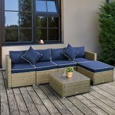 outsunny 6 piece outdoor patio wicker