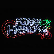 Merry Christmas Light Up Sign For Roof Chasing Red Green White Led Merry Christmas Indoor Outdoor Rope Light Wall Sign