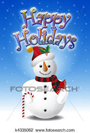 Holidays Snowman Clip Art Of Snowman And Happy Holidays K4335062 Search Clipart
