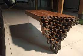 falling brick coffee table inspired by