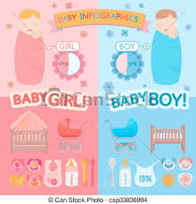 Baby Infographic Vector Illustration Of Beautiful Newborn