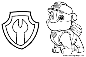 Paw Patrol Rubble Mechanic Badge Coloring Pages Printable