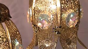 vintage mid century retro hollywood regency crystal 5 light swag hanging lamp