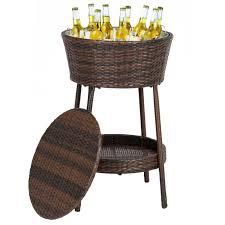 Ice Bucket Table Wicker Ice Bucket Outdoor Patio Furniture All Weather Beverage
