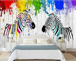 Kinderkamer 3d Behang Aquarel Zebra 3d Hout Board Woonkamer
