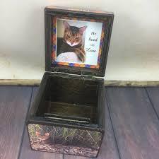 wooden cat urn