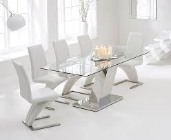 mark harris lamont glass rectangular extending dining set with 6 hereford z white chairs 140cm