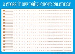 Daily Checklist Chart Cross It Off Daily Chore Calendar Blue With Orange Free