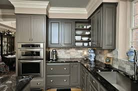 grey kitchen cabinets with patterned black granite gray countertops light dark