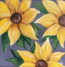 how to paint sunflowers on grey 12x12 canvas