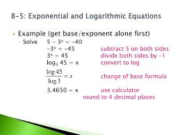8 5 exponential and logarithmic equations
