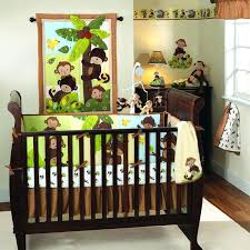 jungle themed nursery bedding sets monkey and palm tree baby crib bedding neutral brown green and