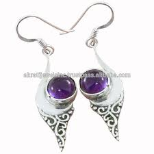 new fashion solid 925 sterling silver round amethyst gemstone earrings whole jewellery indian silver jewelry