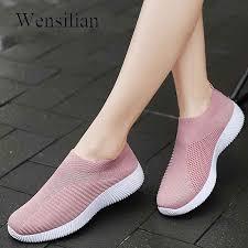 <b>Fashion</b> Sneakers For <b>Women</b> Treainers <b>Knitted Vulcanized</b> flat ...