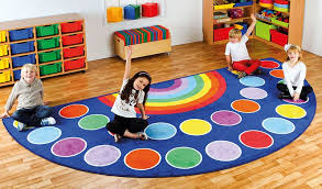rainbow semi circle placement carpet