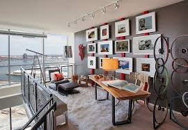 you need not add too much red to brighten the home office in gray design