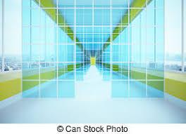 office corridor door glass. Futuristic Glass Corridor Office Door