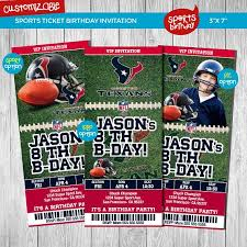 Party Ticket Invitations Fascinating Houston Texans Custom Party Ticket Invitations Birthday SPORTS
