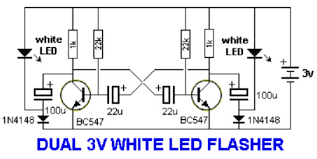 wiring schematic diagram dual v white led flasher dual v white dual 3v white led flasher dual 1v5 white led flasher