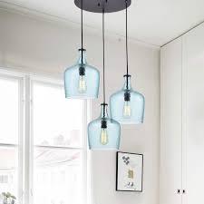 Blue Glass Pendant Light Fixture Belinda Blue Glass Cluster Pendant Chandelier Antique Black