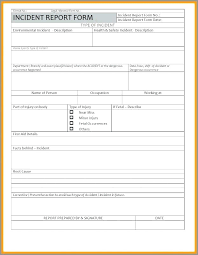 Safety Incident Report Template Accident Incident Report Form Safety