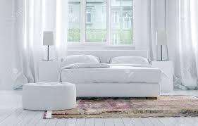 Luxury Monochromatische Weiße Schlafzimmer Interieur Mit Eleganten