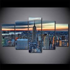 new york city skyline cityscape print 5 piece canvas wall art picture poster on new york city skyline canvas wall art with shop new york skyline wall art on wanelo