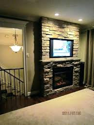 stone fireplace with tv accent wall stagger best images on