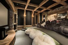 United States Adult Bean Bag Home Theater Rustic With Stone Wall Enchanting Home Theater Design Houston