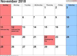 november holidays calendar 2018
