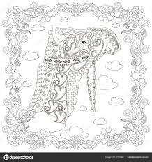 Monochroom Zentangle Stijl Kameel Hoofd Bloemenlijst Kleurplaten