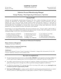 Cover Letter Manufacturing Manager Resume Examples Of